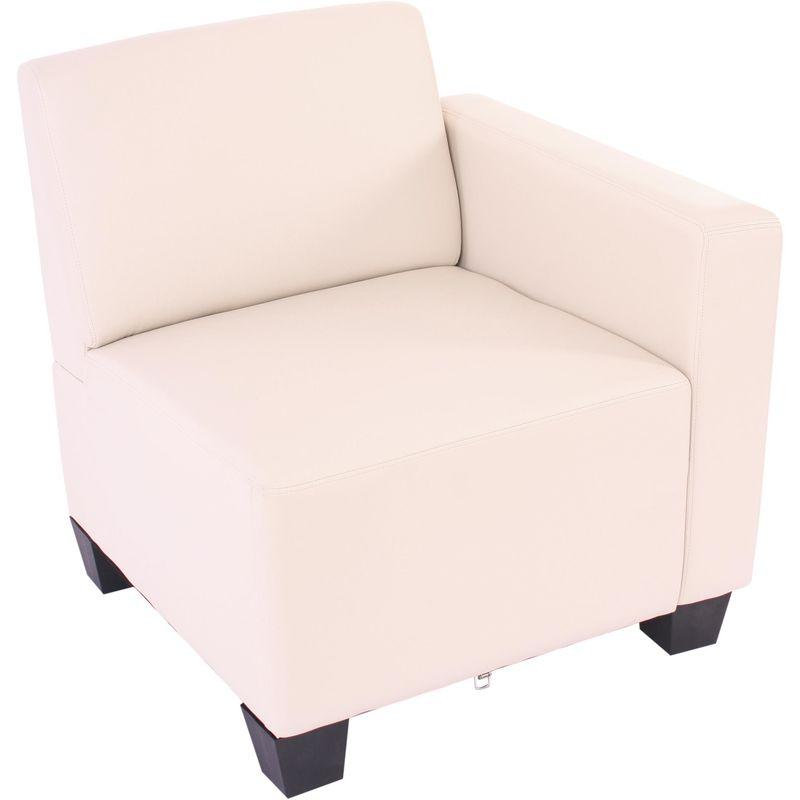 Modular Seitenteil rechts, Sessel mit Armlehne Moncalieri, Kunstleder ~ creme - HHG