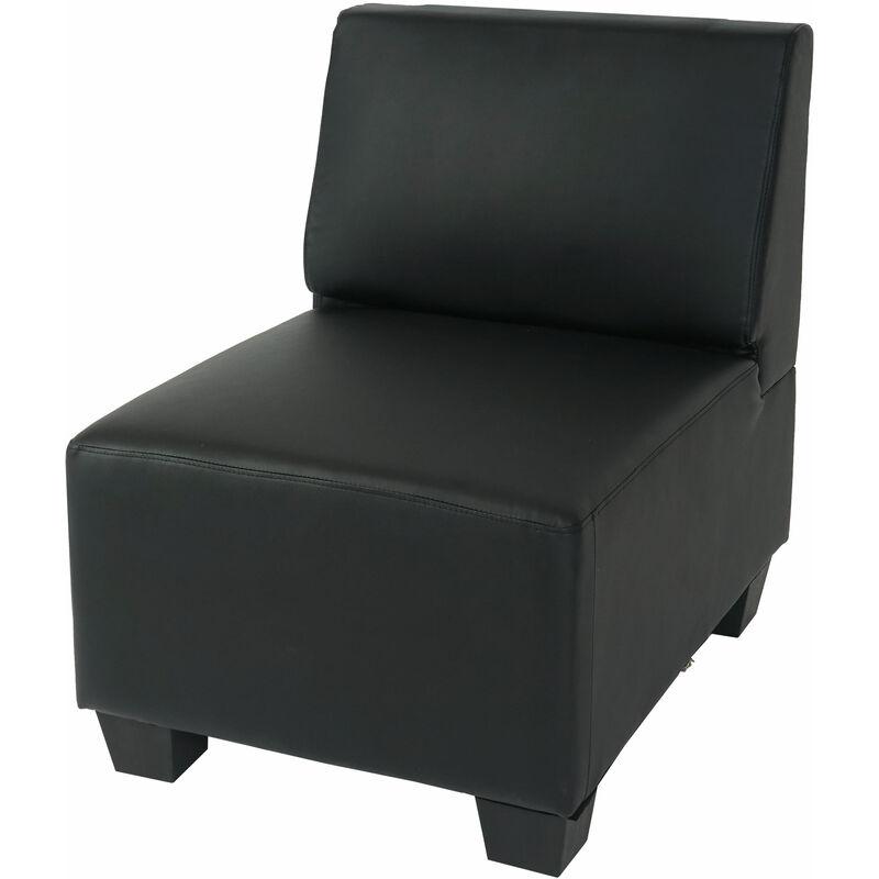 Modular Sessel ohne Armlehnen, Mittelteil Moncalieri, Kunstleder ~ schwarz - HHG