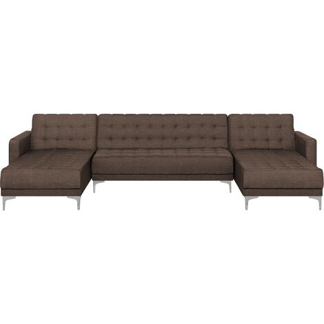 Modular U-Shaped Corner Sofa Bed 2 Chaises Brown Fabric Tufted Aberdeen