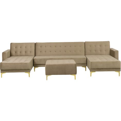 Modular U-Shaped Corner Sofa Bed 2 Chaises Ottoman Beige Velvet Aberdeen