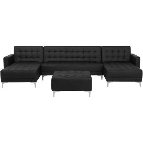 Modular U-Shaped Corner Sofa Bed 2 Chaises Ottoman Black PU Leather Aberdeen
