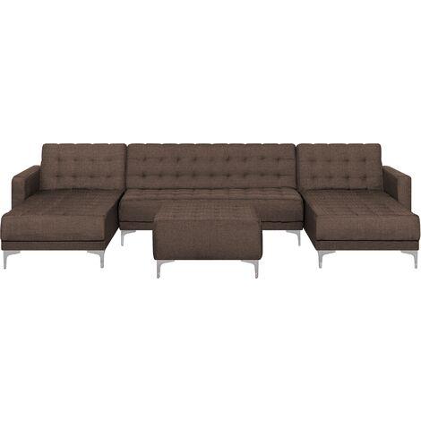 Modular U-Shaped Corner Sofa Bed 2 Chaises Ottoman Brown Fabric Aberdeen