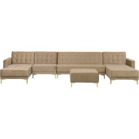 Modular U-Shaped Corner Sofa Bed 2 Chaises Seat Ottoman Beige Velvet Aberdeen