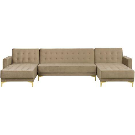Modular U-Shaped Corner Sofa Bed 3 Seater 2 Chaises Beige Velvet Aberdeen