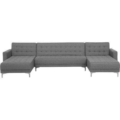 Modular U-Shaped Corner Sofa Bed 3 Seater 2 Chaises Grey Fabric Aberdeen