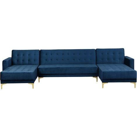 "main image of ""Modular U-Shaped Corner Sofa Bed 3 Seater 2 Chaises Navy Blue Velvet Aberdeen"""
