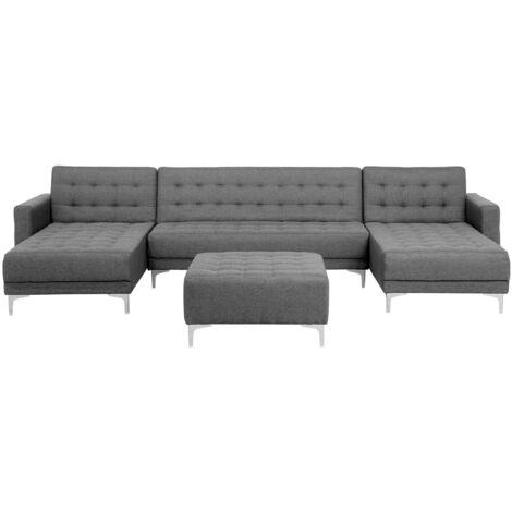 Modular U-Shaped Corner Sofa Bed 3 Seater 2 Chaises Ottoman Grey Fabric Aberdeen