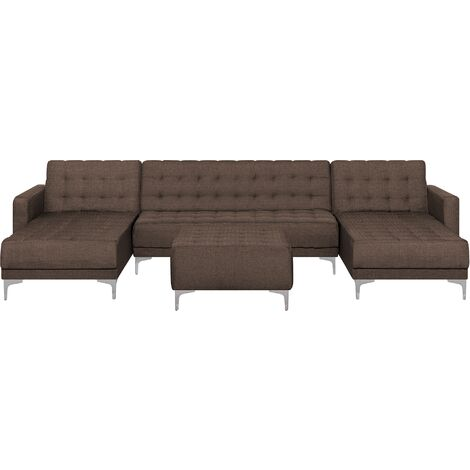 Modular U-Shaped Sofa Bed 3 Seater 2 Chaises Ottoman Brown Fabric Aberdeen