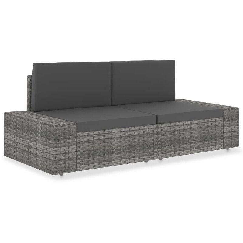 Modulares 2-Sitzer-Sofa Poly Rattan Grau - VIDAXL