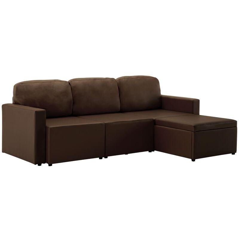 Modulares 3-Sitzer Schlafsofa Braun Kunstleder - VIDAXL