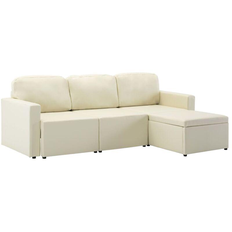 Modulares 3-Sitzer Schlafsofa Creme Kunstleder - VIDAXL