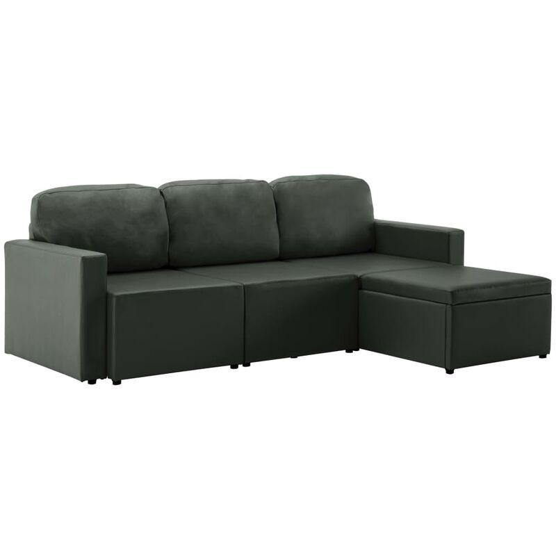 Modulares 3-Sitzer Schlafsofa Grau Kunstleder - VIDAXL