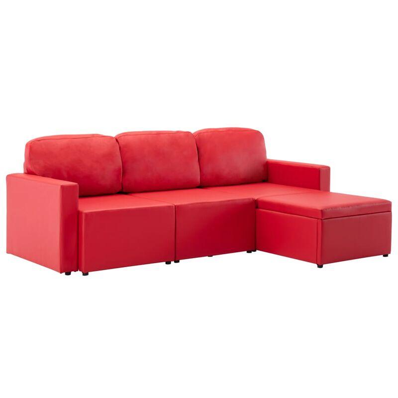 Modulares 3-Sitzer Schlafsofa Rot Kunstleder - VIDAXL