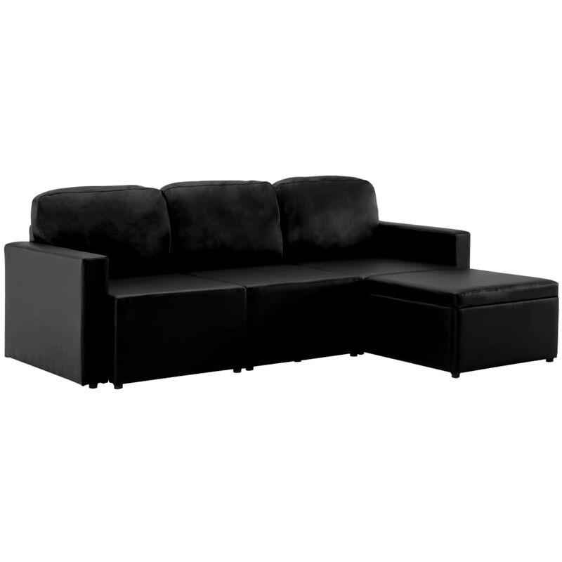 Modulares 3-Sitzer Schlafsofa Schwarz Kunstleder - VIDAXL