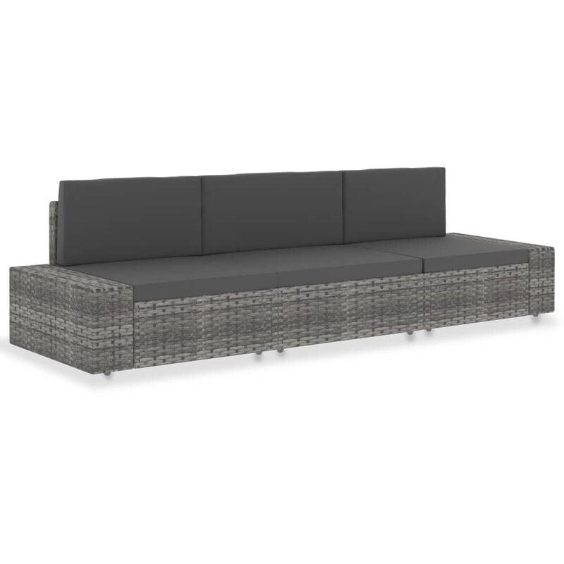 Modulares 3-Sitzer-Sofa Poly Rattan Grau - VIDAXL
