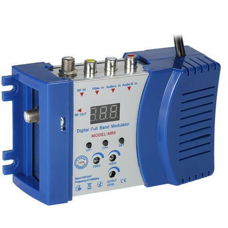 Modulateur Convertisseur AV vers RF Amplificateur de signal audio et video VHF / UHF Orange M69 petit standard europeen 230V