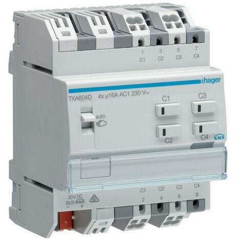 Module 4 sorties 16A/230V~ charge capa/NE (TXA604D)