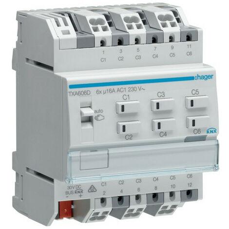 Module 6 sorties 16A/230V~ charge capa/NE (charge fluos compensés parallèles) (TXA606D)