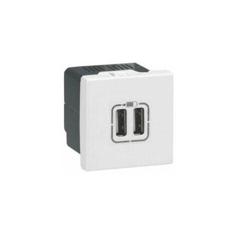 Module de charge 2 USB typeA 2 modules - Mosaic - Blanc - 077594 - Legrand