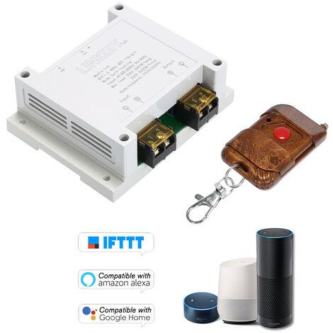 Module de commutation WiFi intelligent sans fil eWeLink AC85-250V 1 canal Telecommande RF433MHz Mode de controle autobloquant avec telecommande a 1 bouton Modele: 1CH-30A / AC85-220V + 433MZ