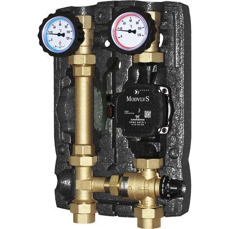 Module hydraulique à deux voies avec vanne mélangeuse à point fixe et circulateur à haute prévalence