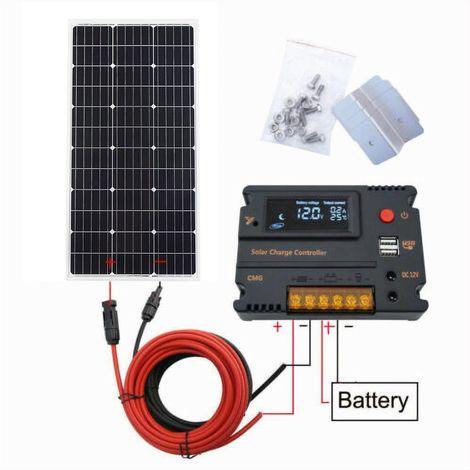 Module Mono Kit Panneau Solaire 100W 18V avec Contrôleur de Charge USB LCD 20A Camping