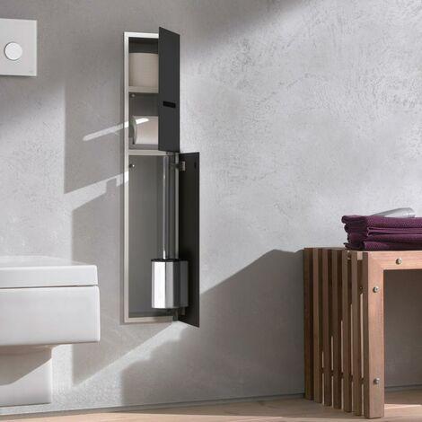 Módulo 2.0 WC Emco asis - modelo empotrado, portarrollos, 1 puerta con ranura, bisagra de puerta a la derecha, color: aluminio/negro - 975427550