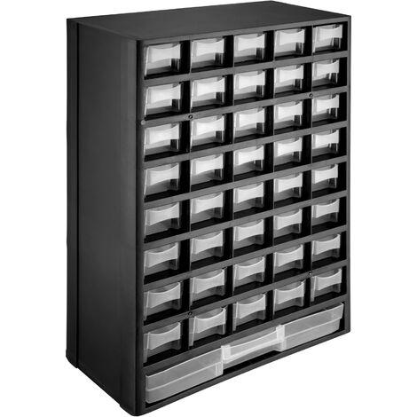 Módulo clasificador para piezas pequeñas - organizador estable para taller, cajonera para herramientas pequeñas con sujeciones murales, cajones apilables extraíbles con marco - negro/blanco