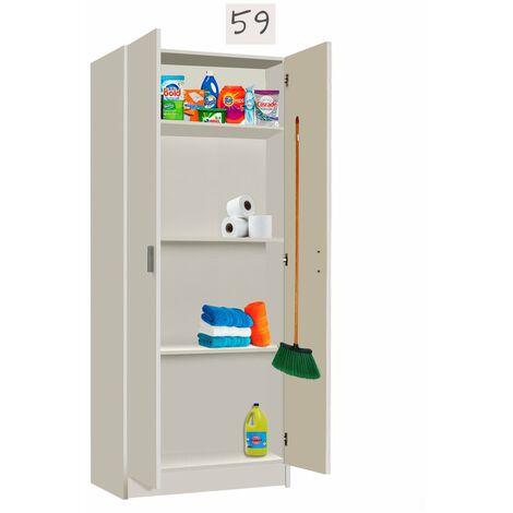 Modulo cocina Multiusos con COLGADORES Blanco, Medidas 59 cm (Largo) x 180 cm (Alto) x 37 cm (Fondo)
