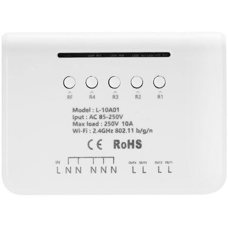 Modulo de interruptor WIFI, interruptor inalambrico RF 433MHz de 4 pandillas