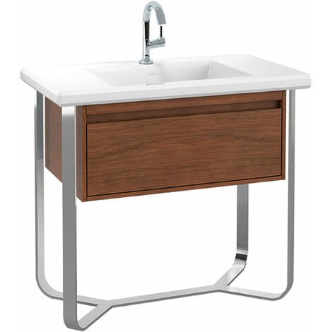 Módulo de lavabo Villeroy & Boch Antheus con base de acero inoxidable B06510, 927 x 853 x 500 mm, de pie, color: Fresno negro - B06510PW