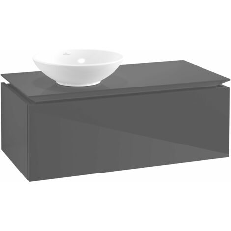 Módulo de lavabo Villeroy & Boch Legato B106, 1000x380x500mm, lavabo lado izquierdo, color: Gris brillante - B10600FP
