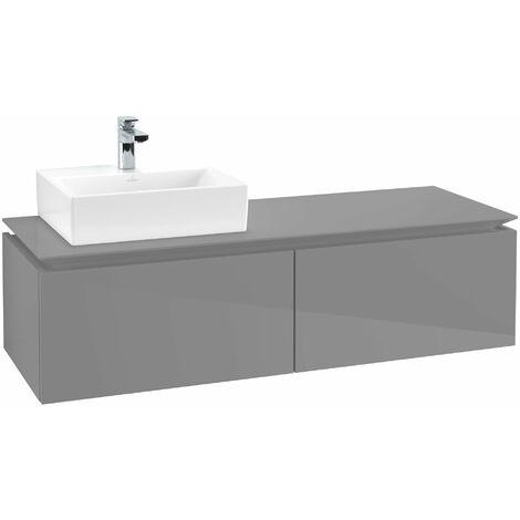 Módulo de lavabo Villeroy & Boch Legato B113, 1400x380x500mm, lavabo lado izquierdo, color: Gris brillante - B11300FP