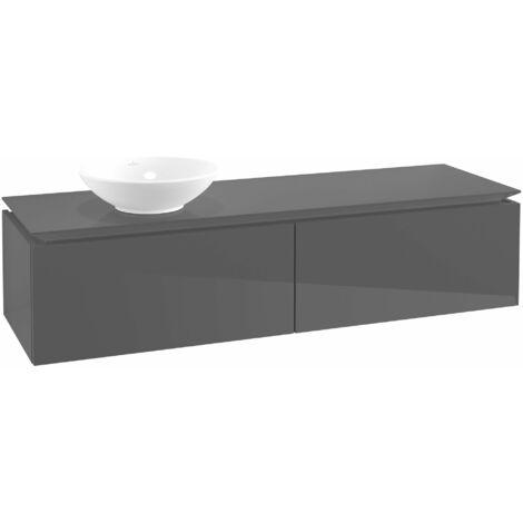 Módulo de lavabo Villeroy & Boch Legato B116, 1600x380x500mm, lavabo lado izquierdo, color: Gris brillante - B11600FP