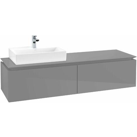 Módulo de lavabo Villeroy & Boch Legato B117, 1600x380x500mm, lavabo lado izquierdo, color: Gris brillante - B11700FP