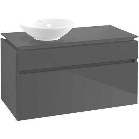 Módulo de lavabo Villeroy & Boch Legato B126, 1000x550x500mm, lavabo lado izquierdo, color: Gris brillante - B12600FP