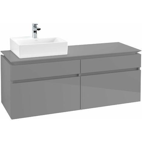 Módulo de lavabo Villeroy & Boch Legato B133, 1400x550x500mm, lavabo lado izquierdo, color: Gris brillante - B13300FP