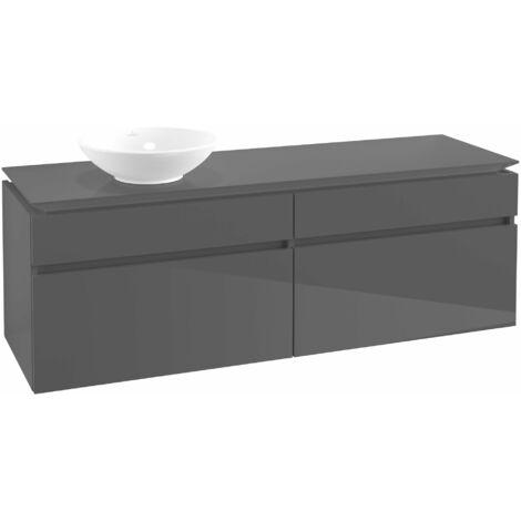 Módulo de lavabo Villeroy & Boch Legato B136, 1600x550x500mm, lavabo lado izquierdo, color: Gris brillante - B13600FP