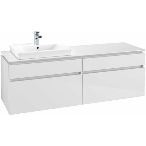 Módulo de lavabo Villeroy & Boch Legato B13760, 1600x550x500mm, lavabo a la izquierda, color: Blanco brillante - B13760DH