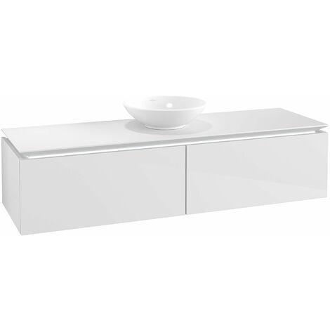 Módulo de lavabo Villeroy & Boch Legato B147, 1600x380x500mm, centrado en el lavabo, iluminación LED, color: Blanco brillante - B147L0DH