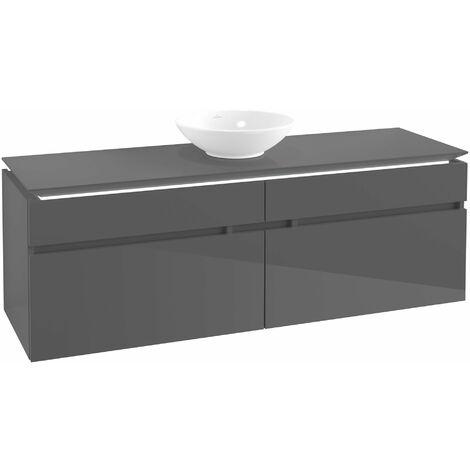 Módulo de lavabo Villeroy & Boch Legato B155, 1600x550x500mm, centro lavabo, iluminación LED, color: Gris brillante - B155L0FP