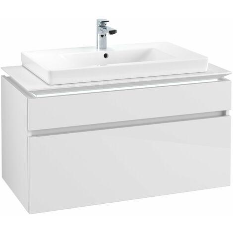 Módulo de lavabo Villeroy & Boch Legato B225L0, 1000x550x500mm, centro lavabo, iluminación LED, color: Blanco brillante - B225L0DH
