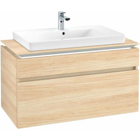 Módulo de lavabo Villeroy & Boch Legato B225L0, 1000x550x500mm, centro lavabo, iluminación LED, color: Elm Impresso - B225L0PN