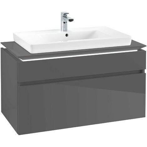Módulo de lavabo Villeroy & Boch Legato B225L0, 1000x550x500mm, centro lavabo, iluminación LED, color: Gris brillante - B225L0FP