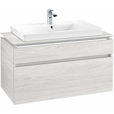 Módulo de lavabo Villeroy & Boch Legato B225L0, 1000x550x500mm, centro lavabo, iluminación LED, color: madera blanca - B225L0E8