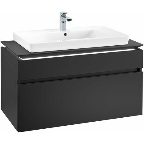 Módulo de lavabo Villeroy & Boch Legato B225L0, 1000x550x500mm, centro lavabo, iluminación LED, color: Negro Mate Laca - B225L0PD