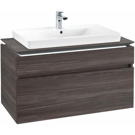 Módulo de lavabo Villeroy & Boch Legato B225L0, 1000x550x500mm, centro lavabo, iluminación LED, color: Roble Grafito - B225L0FQ