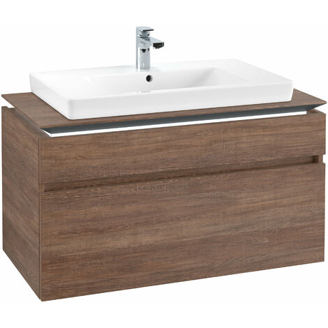 Módulo de lavabo Villeroy & Boch Legato B225L0, 1000x550x500mm, centro lavabo, iluminación LED, color: Roble Santana - B225L0E1