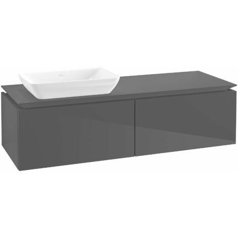 Módulo de lavabo Villeroy & Boch Legato B23000, 1400x380x500mm, lavabo lado izquierdo, color: Gris brillante - B23000FP