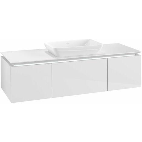 Módulo de lavabo Villeroy & Boch Legato B257L0, 1400x380x500mm, lavabo central, iluminación LED, color: Blanco brillante - B257L0DH